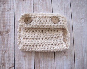 Crochet Baby Diaper Cover, Baby Boy Diaper Cover, Newborn Diaper Cover, Infant Diaper Cover, Baby Girl Diaper Cover, Baby Photo Prop, Ivory