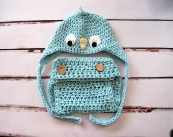 Newborn Photo Prop, Newborn Diaper Cover Set, Crochet Diaper Cover, Baby Hat and Diaper Cover, Baby Bluebird Hat, Baby Boy Hat, Infant, Blue