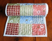 Quilted Table Runner Extra Long Country Blue Red Green Pink
