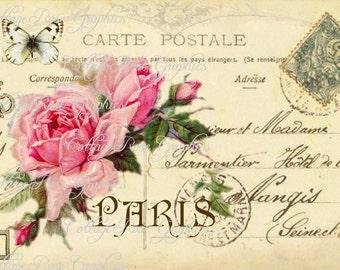 Large digital download The key to Paris Vintage Postcard collage Pink roses Carte Postale BUY 3 get one FREE single image