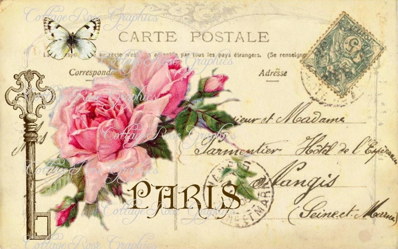large digital download the key to paris vintage postcard. Black Bedroom Furniture Sets. Home Design Ideas