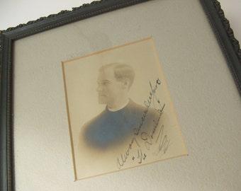 Antique Frame Autographed Priest Portrait Photograph Flahertys Art Store Helena Montana