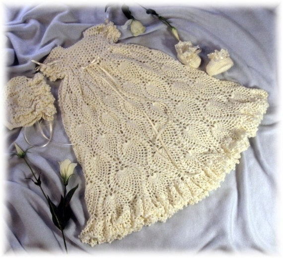 Crochet Pattern For Baby Christening Gown Bonnet And Booties