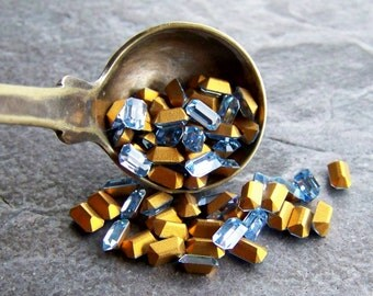 Vintage Swarovski Crystals-Vintage Swarovski Crystal Special Sapphire Light Baguette Stones 3 x 5-Scoop