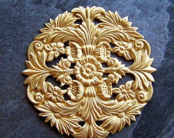Brass Stamping-Large Ornate Floral Brass Stamping-1