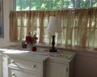 Custom Fringed Burlap Curtain Ruffled Curtain Farmhouse Curtains Kitchen Valance Window Treatment French Country Made to Order