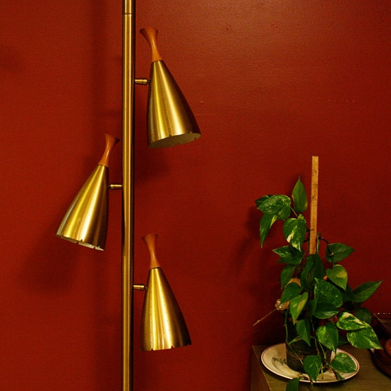 Vintage Lamp Pole Lamp Tension Pole Lamp Gold By OldCottonwood