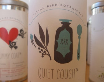 0412 quiet cough tea, medicinal herbal tea made with organic & wildcrafted herbs