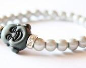 The Happy Buddha White and Gray Rhinestone Beaded Bracelet