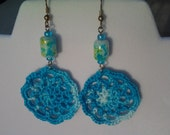 Crocheted Beaded Variegated Blue Earrings