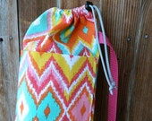 mint green and pink yoga bag