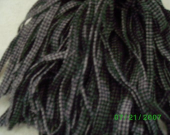 80 Mill Dyed Wool Rug Hooking Strips  Black & White Mini Check