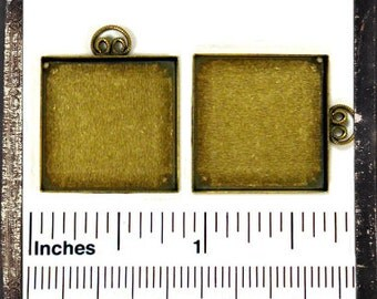 Brass Pendant Bezel - 20mm square - perfect for altered art jewelry