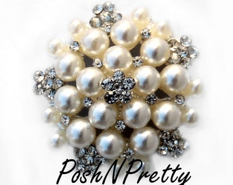 5 PCS Pearl Cluster Rhinestone No Shank button 26mm S2