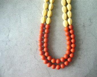 Orange yellow statement necklace