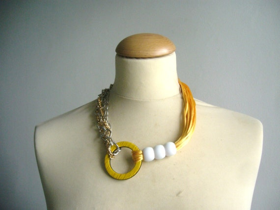 SALE! yellow orange and silver necklace