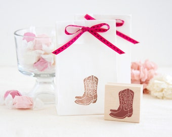 Cowgirl Cowboy Boots Rubber Stamp - Great 4 Country Chic Wedding Save the Dates Scrapbooks Crafts Projects Cards Invitations