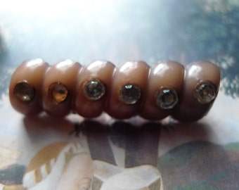 cozy oddity  unusual  beauty 1920s bakelite celluloid pin jewelry creamy light brown