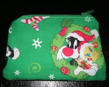 Tweety Christmas Sylvester Warner Looney Tunes handmade zipper fabric coin change purse card holder