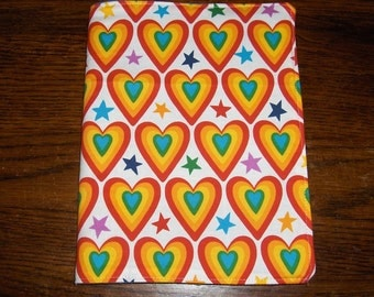 Hearts stars novelty handmade fabric Bookcover Journal cover book
