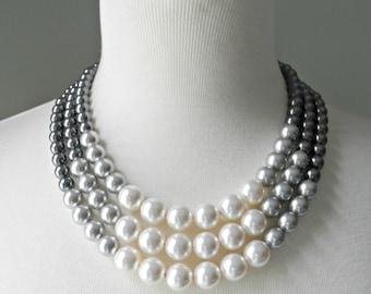 Color Block Triple Decker Necklace - in Gray - 3 Strand Colored Pearl Necklace