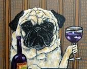 pug at the wine bar dog art signed art print