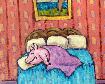 PIG in a Blanket Art PRINT poster gift JSCHMETZ modern bedroom  11x14