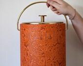 Vintage WestBend Thermo Serv Ice Bucket in dark orange - Mid-century