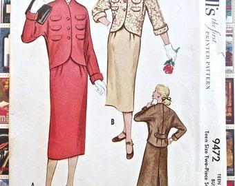 Vintage 1950s Womens Suit Dress Pattern - McCalls 9472