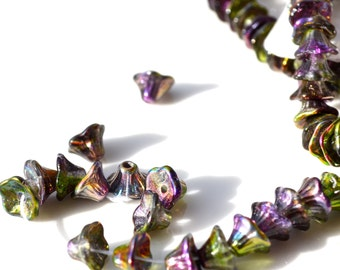 Violet Green Teeny Cup FLower Beads   25