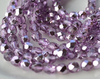 Orchid Lavender Metallic 6mm Faceted Fire Polish Czech Glass Round Beads   25