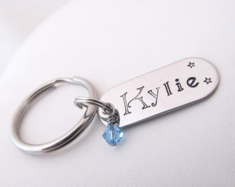 Personalized Keychain - Hand Stamped Tag - Stainless steel key chain - Custom keychain gift - Engraved keychain - New driver gift - Graduate