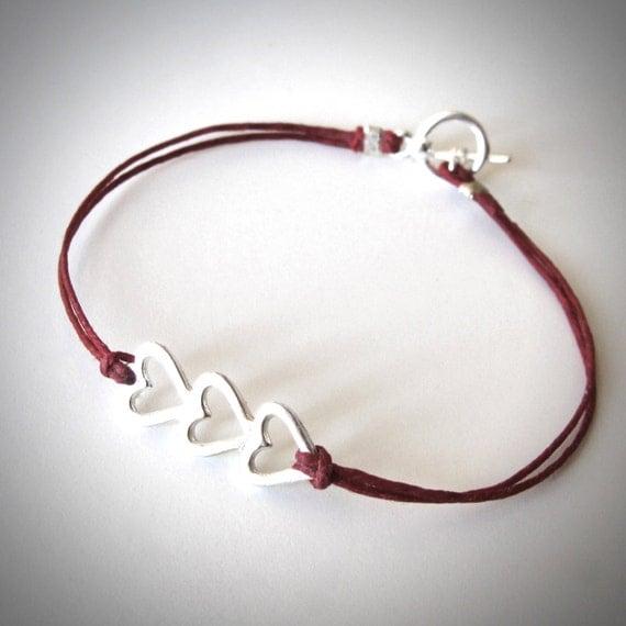 Sterling Silver Heart bracelet Three Hearts Love Bracelet Bridesmaid Anniversary gift boho ready to ship jewelry graduation