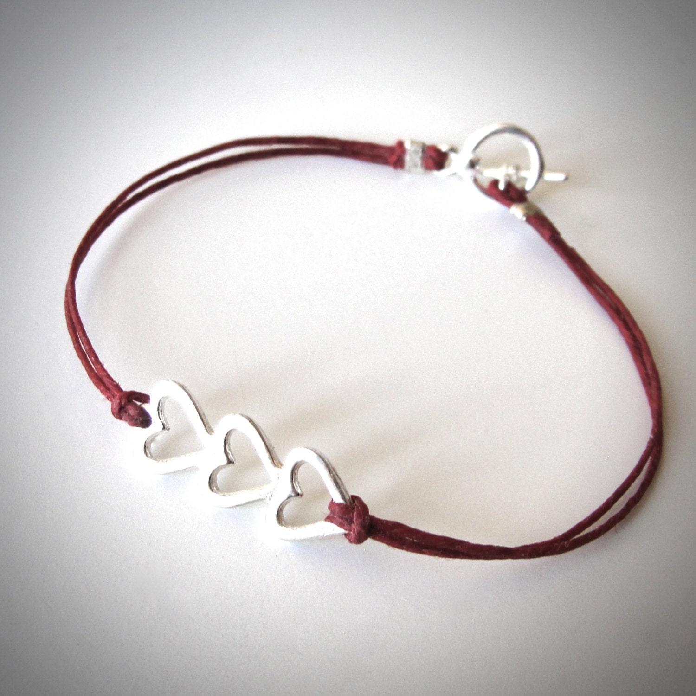 sterling silver heart bracelet three hearts love bracelet. Black Bedroom Furniture Sets. Home Design Ideas