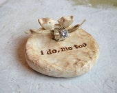 Ring Pillow ... Wedding ring bearer bowl AND cake topper lovebirds to match ... i do, me too