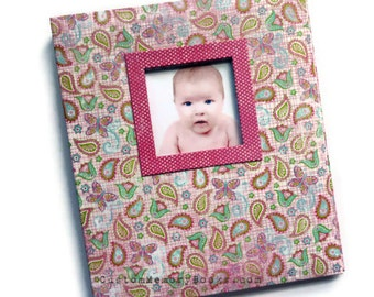 Photo Window Personalized Custom Baby Memory Book - Pink Paisley Flowers