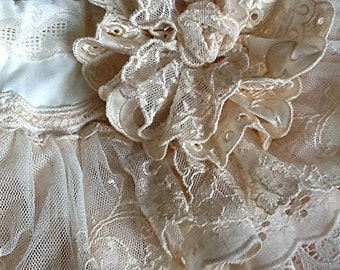 """Flower Girl, EASTER Ivory Vintage Lace Ruffled Skirt with lace flower  brooch """"The Sophia"""" by Rosanna Hope for Babybonbons"""