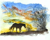 Watercolor painting of horse at sunset