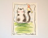 You are my friend - Original Miniature Aceo by bdbworld on Etsy