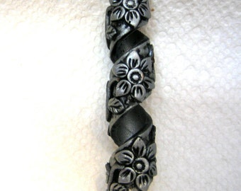 Dread Bead Silver  Flowers on Silver Coil You Choose Hole Size