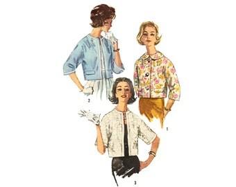 Vintage Sewing Pattern 1960s Boxy Reversible Crop Jacket bust 36 Uncut
