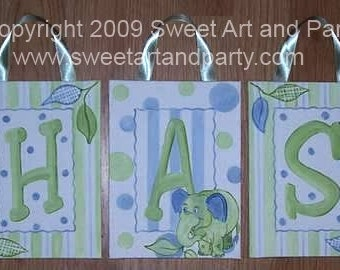 Personalized Blue Elephants bird green dots Custom canvas letter name sign wall art painting children baby decor jungle animals monogram