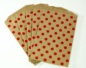 CLEARCE - Middy Bitty, Medium Size, Kraft and Red Polka Dot Paper Treat Bags - Qty 10 - Limited Edition