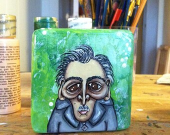 Hand Painted Wood Block Art - Miles (Grumpy Old Men)