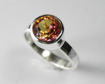 Mystic Topaz Ring - Gemstone Solitaire Ring - Silver Stack Ring - Twilight Mystic Topaz - Bezel Set Solitaire Ring - Alternative Engagement