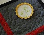River Flowers - Mixed Media Textile Art