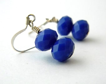 Cobalt Blue Glass Earrings Dangle Earrings