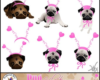 Pug Valentine Pug Dog Graphics set 2 - 7 digital graphics with 3 adorable pugs includes faces and  heart headband [ INSTANT DOWNLOAD ]