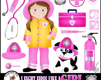 I Fight Fire Like a Girl Fireman Paramedic - 18 digital clipart graphics - dalmation, badge, fire extinquisher, gauge {Instant Download}