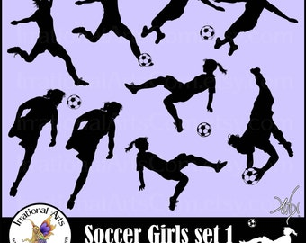EPS and SVG VInyl Ready Girls Soccer Players INSTANT DOWNLOaD digital cilipart graphics 9 png  and 9 eps files soccer